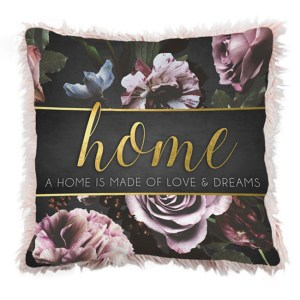 French Country Cushion Midnight Floral HOME IS MADE OF LOVE Cushion Filled 45x45cm New