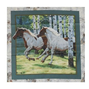 Patchwork Quilting Sewing Fabric HORSES IN THE WOODS 1 Panel 45x45cm New