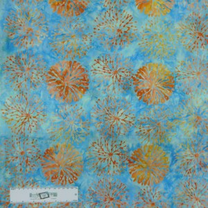 Patchwork Quilting Sewing Fabric BATIK TEAL FLOWERS Allover 50x55cm FQ New