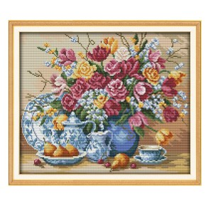 Cross Stitch Kit FRUIT PLATE and VASE X Stitch Joy Sunday Designs Incl Threads New