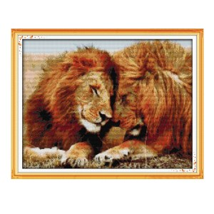 Cross Stitch Kit LIONS X Stitch Joy Sunday Designs Incl Threads New