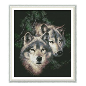 Cross Stitch Kit TWO WOLVES X Stitch Joy Sunday Designs Incl Threads 51x44cm New