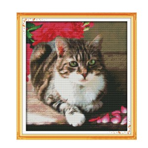 Cross Stitch Kit LOVELY CAT X Stitch Joy Sunday Designs Incl Threads New