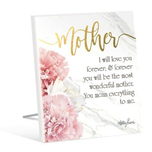 French Country Standing Art Blush Crush MOTHER LOVE YOU Glitter Wooden Sign New