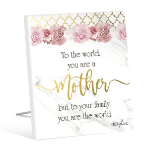 French Country Standing Art Blush Crush MOTHERS WORLD Glitter Wooden Sign New