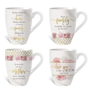 French Country Chic Kitchen Tea Coffee Mugs MOTHER LOVE FAMILY Set of 4 New