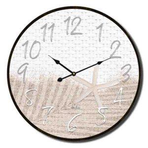 Clocks Country Vintage Inspired Wall STARFISH BEACH SAND Clock 34cm New