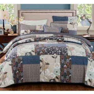 French Country Vintage Patchwork Bed Quilt DESERT BLOOM STORM QUEEN New