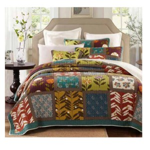 French Country Vintage Patchwork Bed Quilt GARDEN DELIGHT QUEEN New