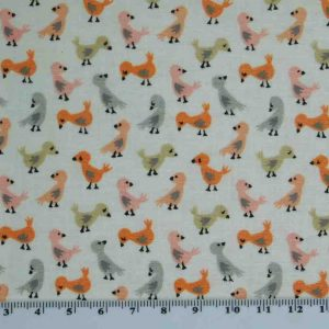 Patchwork Quilting Sewing Fabric LITTLE DEER PINK DUCKS 50x55cm FQ New