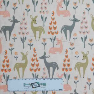 Patchwork Quilting Sewing Fabric LITTLE DEERS PINK 50x55cm FQ New
