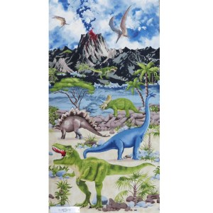Patchwork Quilting Sewing Fabric DINOSAUR WORLD Panel 60x110cm New