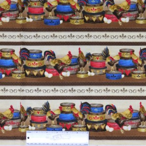 Patchwork Quilting Sewing Fabric ROOSTERS WITH BASKETS 50x55cm FQ New