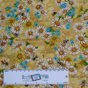 Patchwork Quilting Sewing Fabric BUMBLE BEE DAISY 50x55cm FQ New Material