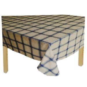 Country Style Table Cloth IVORY and BLUE CHECK Tablecloth RECT 140x185cm New