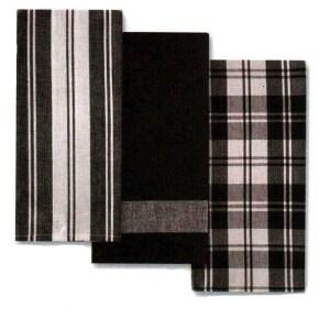 Country Vintage Modern Tea Towels Cotton Dish Cloths Set 3 BLACK New