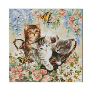 Ankicoleman Cross Stitch Kit KITTENS and BUTTERFLIES Counted X Stitch New