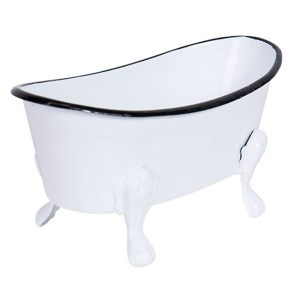 French Country Metal Enamel Retro BATH TUB SOAP or PLANT HOLDER New