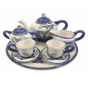 French Country Collectable Novelty MINIATURE BLUE TEA SET 13cm New