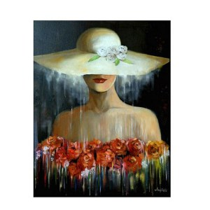 5D Diamond Painting Full Image Square Drills LADY IN A HAT 20x30cm New