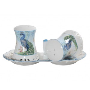 French Country Chic Collectable Kitchen Salt and Pepper Set PEACOCK New Giftboxed