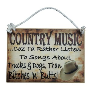 Country Printed Quality Wooden Sign RATHER LISTEN TO COUNTRY MUSIC Funny Plaque