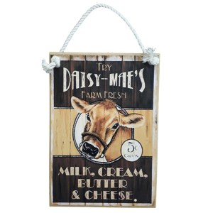 Country Printed Quality Wooden Sign Daisy Maes Cow Milk Farm Plaque New