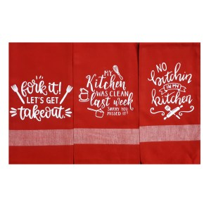 Set of 3 New Tea Towels Kitchen Sayings RED 1 Handmade Teatowels Fork It Takeout