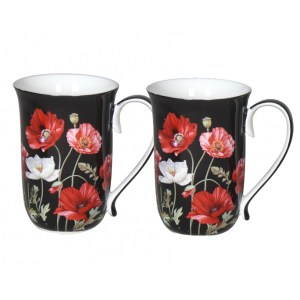 French Country Chic Kitchen 405mm Tea Coffee Mugs BLACK POPPIES Set of 2 New