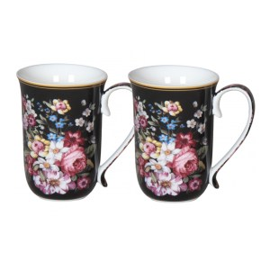 French Country Chic Kitchen 405mm Tea Coffee Mugs BOUQUET Set of 2 New