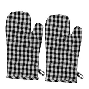 Gingham Check Kitchen Cooking Oven Gloves Set of 2 BLACK Pot Mitts New