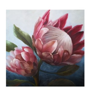 French Country Stretched Canvas Print Large PROTEA 2 Painted Print 80x80cm New