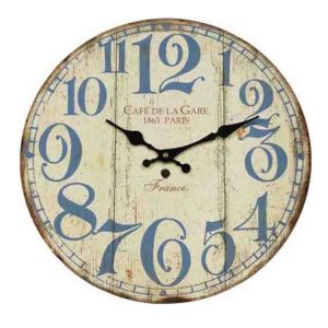 Clock French Country Vintage Wall Hanging CAFE DE LA GARE Time Large 58cm New
