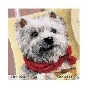 Crafting Kit Latch Hook with Canvas, Hook and Precut Threads MALTESE DOG New