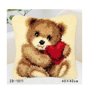 Crafting Kit Latch Hook with Canvas, Hook and Precut Threads TEDDY BEAR KIT New