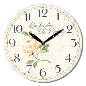 Clock French Country Vintage Wall Hanging LES JARDINS ROSE Time 29cm New