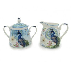French Country Chic China Kitchen PEACOCK Sugar and Creamer Milk Set New