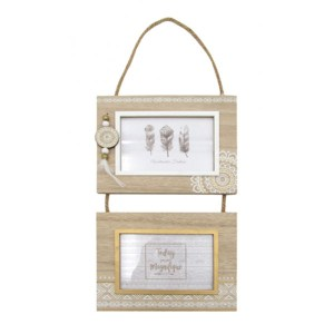 French Country Photo Frame Wooden MANDALA Double Photo Frames 49x21cm New