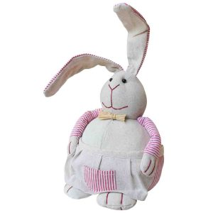 French Country Vintage Look Sitting Weighted RED APRON RABBIT New Door Stopper