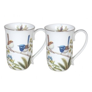 French Country Chic Kitchen 405mm Tea Coffee Mugs AUSSIE BIRDS Set of 2 New