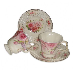 French Country Chic Kitchen Tea Cups and Saucers Set of 2 PINK ROSE New Giftboxed