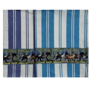 Country Style New Tea Towels Set of 2 HORSES WOODS Handmade Teatowels New