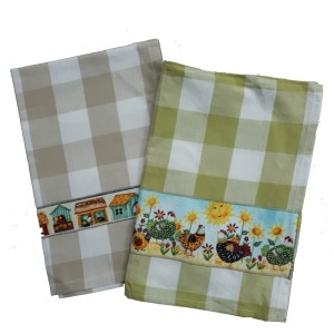 Country Style New Tea Towels Set of 2 CHICKEN HOUSES Handmade Teatowels New