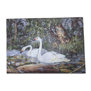 Rico Tapestry Printed Canvas GRACEFUL SWANS BIRDS New