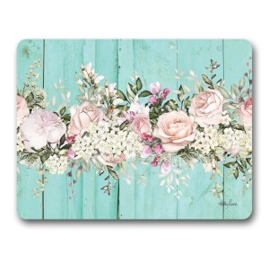 Kitchen Cork Backed Placemats AND Coasters ENGLISH ROSE AQUA Set 6 New