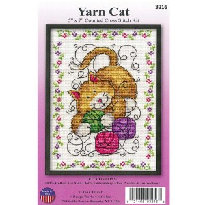 Cross Stitch YARN CAT X Stitch with Aida Fabric New Kit Including Threads