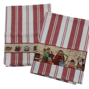 Country Style New Tea Towels Set of 2 RED COFFEE Teatowels New