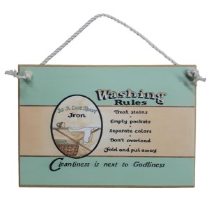 Country Printed Quality Wooden Sign LAUNDRY WASHING RULES New