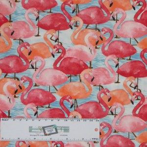 Quilting Patchwork Sewing Fabric FLAMINGOES PINK 50x55cm FQ New