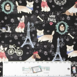 Quilting Patchwork Sewing Fabric PARIS DOGS 50x55cm FQ New